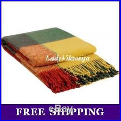 Warm 100% Wool Plaid Blanket TWIN / FULL / QUEEN size FREE SHIPPING