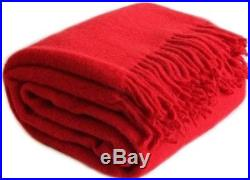 Warm Soft RED Wool Blend Plaid Blanket 140200 Twin size FREE SHIPPING