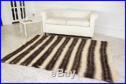 White Fluffy Throw With Grey Stripes Blanket Throw Pure 100% Wool Sofa Plaid