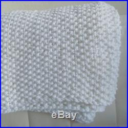 White Knit Blanket Wool Acrylic Afghan Ivory Throw Knitted Plaid Handmade Cover
