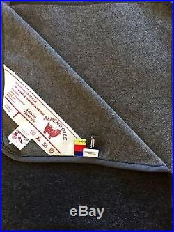 Wool Blanket, Reversible Plaid Black/Grey with Cashmere Part, Made in Germany