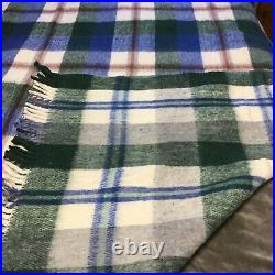 Wool Blanket Thick Rustic Mexican Plaid Heavy Weaving Southwest 78x88 King Size