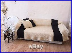 Wool Blanket White Striped Throw for Sofa/ Hand Woven Bed Cover Warm Wool Plaid
