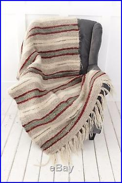 Wool Plaid Throw Grey Striped Blanket Outdoor Throw Blanket Hand Woven