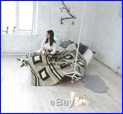 Wool Throw Blanket Queen Size Hand Woven Sofa Cover Plaid Contemporary Decor