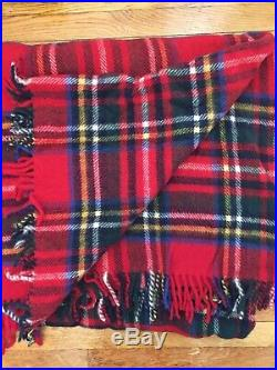 Woolmark Pure Wool Throw Blanket 83x98 Classic Red Plaid MADE IN ITALY