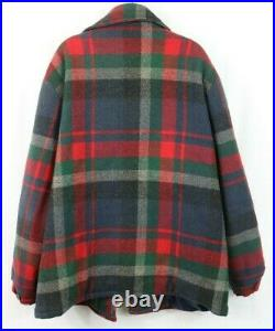 Woolrich men's XL Vintage Wool Blanket Jacket Hunting Style Colorful Plaid USA