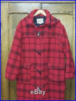 Woolrich red plaid blanket duffle long Wool coat toggle Women's hooded M/L