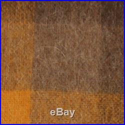 Yellow Brown plaid Throw Blanket Bedspread Alpaca and Wool, for Sofa Couch Bed